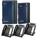 KX-TDA50G Package with 3 KX-DT343B-R phones and 1 KX-TVA50-R Voice Processing System